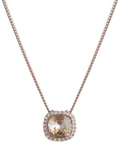 Givenchy Givenchy Rose Gold-Tone Crystal Cushion Pendant Necklace