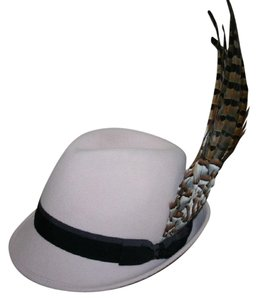 Chanel CHANEL-Pale-Pink-Pheasant-Partridge-Feather-Fedora-with 'CC' Bow NWT