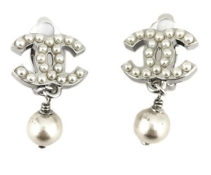 Chanel Chanel Classic Faux pearl Silver Dangle Earrings