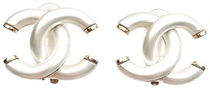 Chanel Chanel White Enamel CC Gold Clip on Earrings