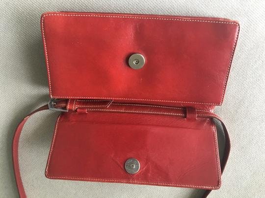 Barneys New York Barney's New York red leather wallet with removable shoulder straps Image 3