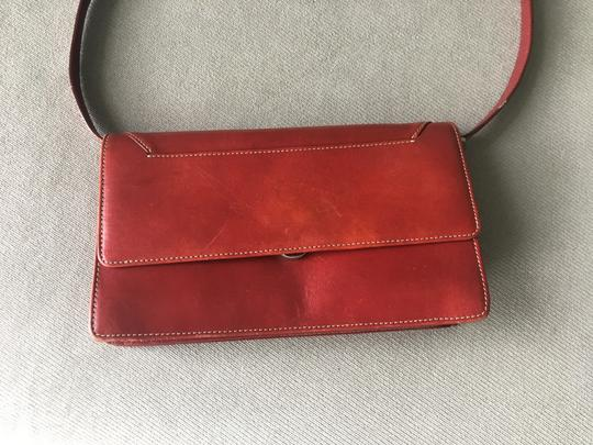 Barneys New York Barney's New York red leather wallet with removable shoulder straps Image 5