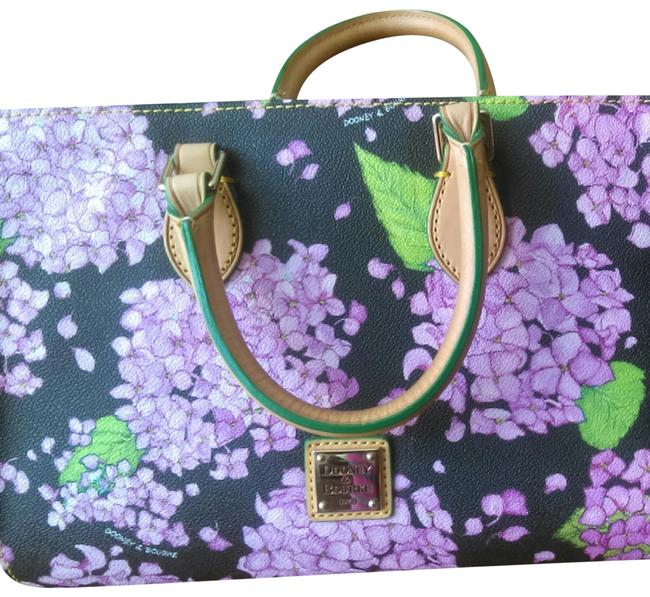 Item - Hydrangea Collection Hot Pink/Black/Green Lilac Pink and Green On Dark Background Leather Satchel