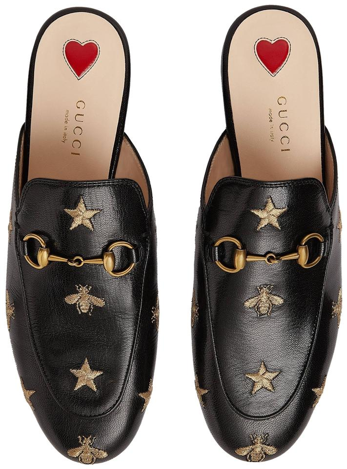 f58bf2d9a4307 Gucci Black Princetown Embroidered Bees Stars Leather Slipper Mules/Slides