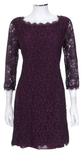 Diane von Furstenberg 'zarita' Burgundy 3/4 Sleeve Lace Shift Dress
