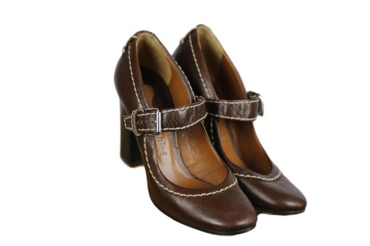 Chloé Mary Jane Round Toe Solid Contrast Stitch Brown Pumps Image 0