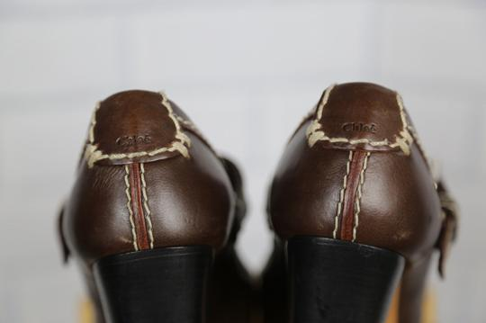 Chloé Mary Jane Round Toe Solid Contrast Stitch Brown Pumps Image 5