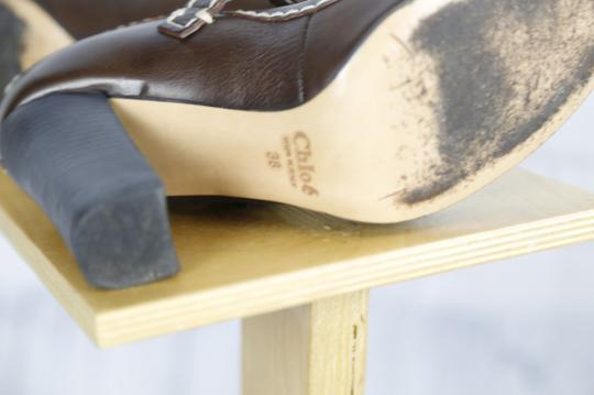Chloé Mary Jane Round Toe Solid Contrast Stitch Brown Pumps Image 6