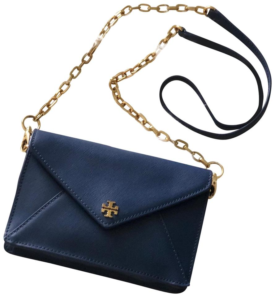 857a94ef1c19 Tory Burch Robinson Small Envelope Clutch Blue Leather Cross Body ...