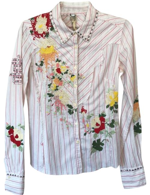 Item - White with Red Yellow and A Metallic Multicolor Ribbon. Embroidery Is Red Yellow Ivory Peach Green Mint Green Long Sleeve Blouse Button-down Top Size 4 (S)