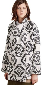 Anthropologie Collar Buckle Patch Pockets Dolman Sleeves Snap Front Ethnic Print Pea Coat