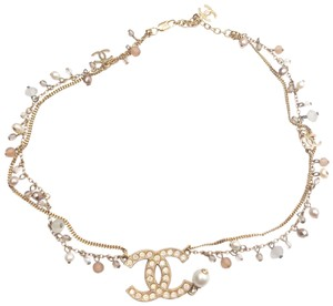 Chanel Chanel Light Gold Opal Crystal Pastel Bead Faux Pearl Choker Necklace