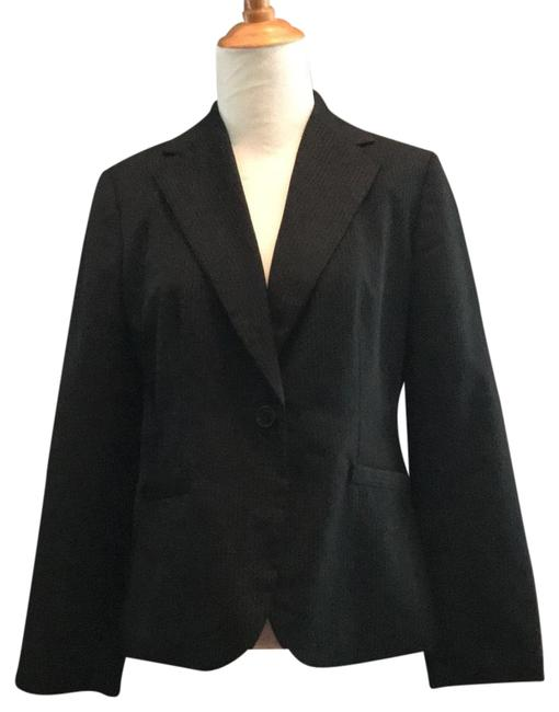 Item - Black/Brown Wool Pinstripe Blazer Size Petite 8 (M)