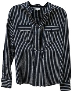 Armani Collezioni Top Navy and Grey/beige stripe