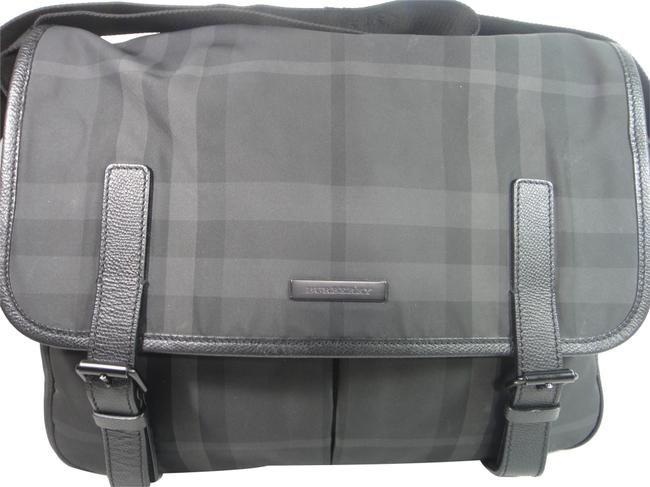 Item - Check Large Mess Gray Canvas/Leather Cross Body Bag