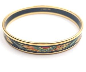 Hermès Hermes Red Yellow Feather Gold Rimmed Black Enamel Bangle