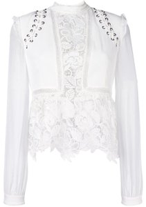 self-portrait Mesh Lace Crochet Top White
