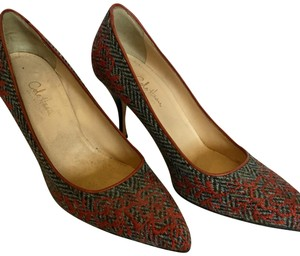 Cole Haan Embroidery Houndstooth orange grey Pumps