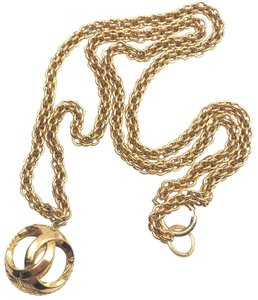 Chanel Chanel Vintage Gold Plated CC Ball Pendant Long Necklace