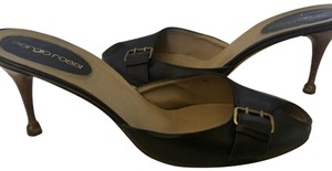 Sergio Rossi Leather Open Toe Buckle black Mules