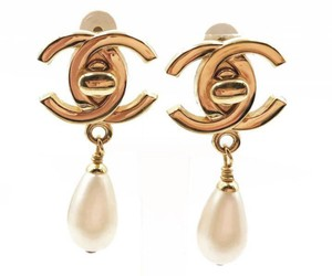 Chanel Chanel 24K Gold Plated CC Turnlock Faux Pearl Clip on Earrings