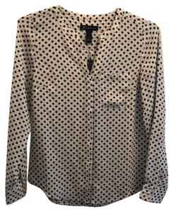 INC International Concepts Top White with black polka dots