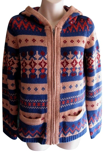 Anthropologie Fair Isle Nordic Zip Up Hoodie Print Sweater Image 0