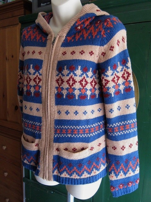 Anthropologie Fair Isle Nordic Zip Up Hoodie Print Sweater Image 2