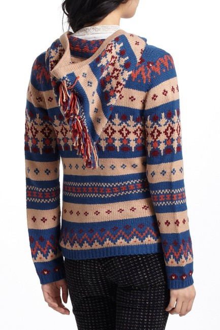 Anthropologie Fair Isle Nordic Zip Up Hoodie Print Sweater Image 4