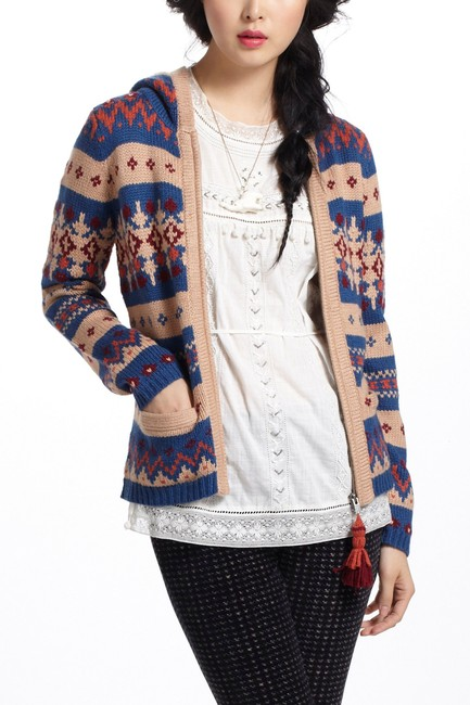 Anthropologie Fair Isle Nordic Zip Up Hoodie Print Sweater Image 5