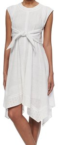 Rebecca Taylor Netted Eyelet Tie-waist Cap Sleeves Sash Dress