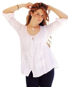 Lirome Romantic Vintage Nautical Summer Cozy Top White