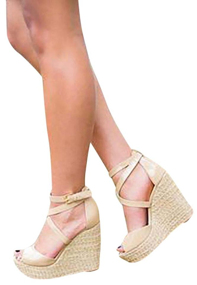9d7875a990b MICHAEL Michael Kors Nude Gabriella Patent Leather Sandal Wedges Size US  6.5 Regular (M, B) 70% off retail