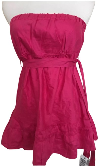 United Colors of Benetton Hot Pink Strapless Belted Tunic Size 6 (S) United Colors of Benetton Hot Pink Strapless Belted Tunic Size 6 (S) Image 1