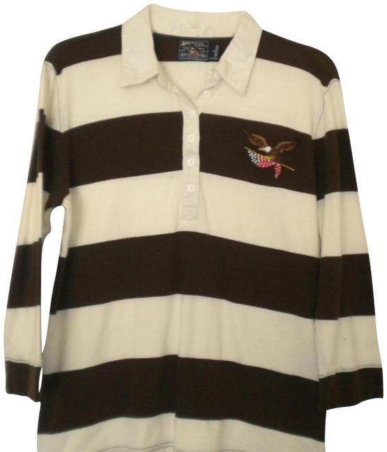 American Living 3/4 Sleeves Striped Rugby T Shirt Brown/White Image 0