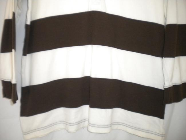 American Living 3/4 Sleeves Striped Rugby T Shirt Brown/White Image 1