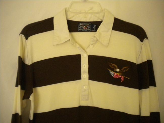 American Living 3/4 Sleeves Striped Rugby T Shirt Brown/White Image 2