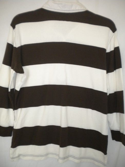 American Living 3/4 Sleeves Striped Rugby T Shirt Brown/White Image 3