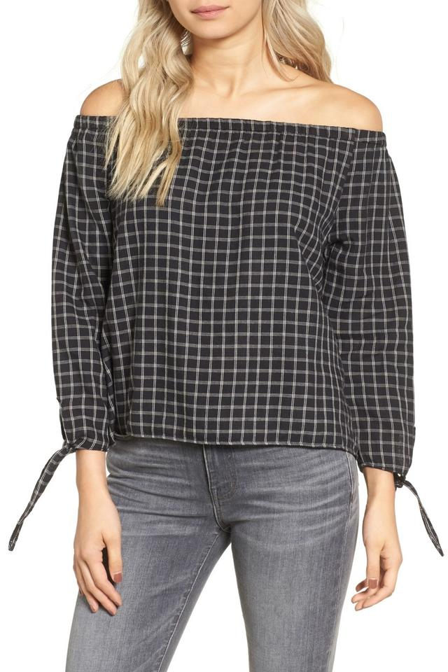 697abbcc44d335 Madewell New Black Plaid Off-the-shoulder Blouse Size 12 (L) - Tradesy