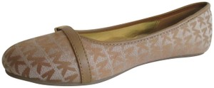 MICHAEL Michael Kors Gold Hardware Rubber Sole Signature Insole Tan Flats