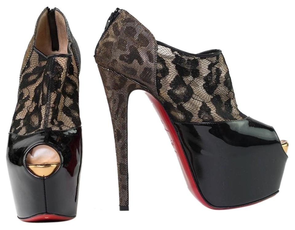 58d0e454b75 Christian Louboutin Black Gold Patent Leather Peep-toe Aeronotoc 160 Pumps