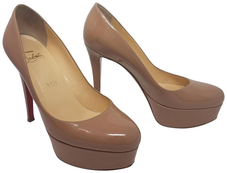 55ea7bee2c2 Christian Louboutin Beige Tan Patent Leather Bianca 120 Pumps Size ...