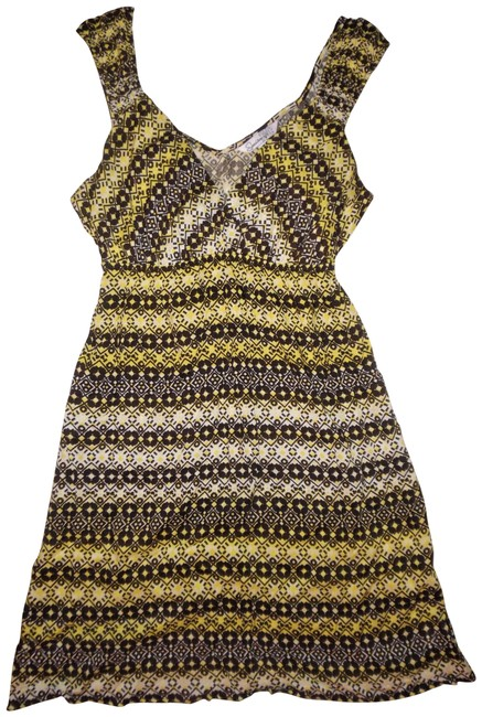 Preload https://img-static.tradesy.com/item/23283344/speechless-yellow-brown-white-abstract-v-neck-boho-sun-short-casual-dress-size-8-m-0-1-650-650.jpg