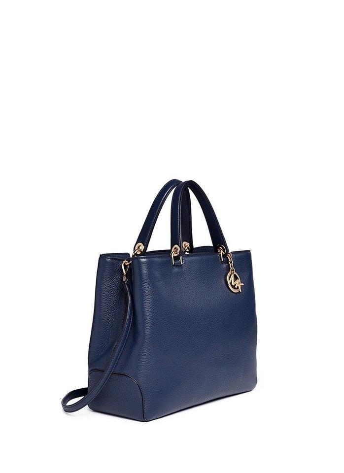 f22cc718f34c Michael Kors Anabelle Large Top-zip Admiral/Gold Leather Tote - Tradesy