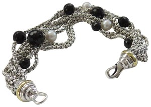 David Yurman Refurbished by DY 8 Strand SS/18k 2.7mm Box Chain w/Pearls/Black Onyx