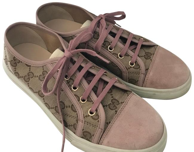 Item - Pink/ Mauve Suede and Tan Canvas Gg Monogram Sneakers Size EU 38 (Approx. US 8) Regular (M, B)