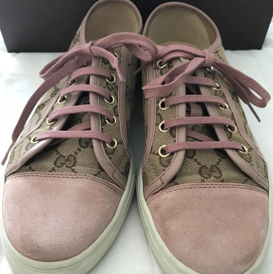 bf401fffd83 Gucci Pink  Mauve Suede and Tan Canvas Gg Monogram Sneaker Sneakers ...