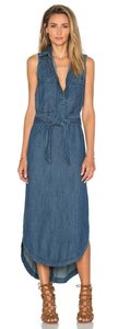 Denim Maxi Dress by Free People Sleeveless Chambray Belted