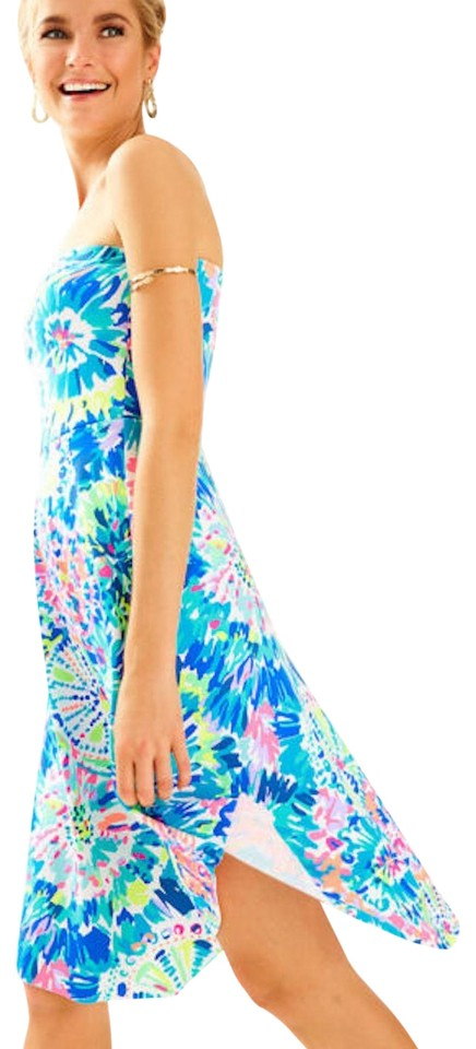 a9eb8a3ffb843 Lilly Pulitzer Blue Green Pink Multi Dive In Strapless Loleta Short Casual  Dress