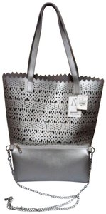 Ashley Stewart Shopper Bonus Faux Leather Cutout Perforated Tote in Silver